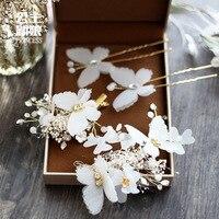 Doce noiva cocar hairpin borboleta cabelo fios de seda flor do cabelo do casamento jóias artesanais Coreano enfeites de cabelo de casamento