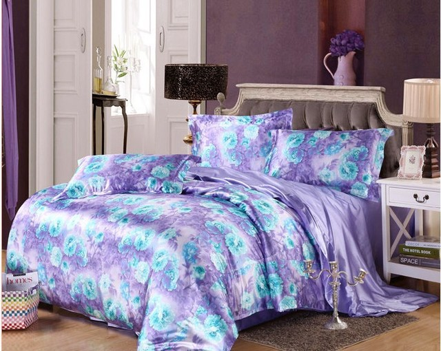 7pcs Blue Purple Floral Bedding Set Cal King Size Silk Satin Sheets Fitted Duvet Cover Bed