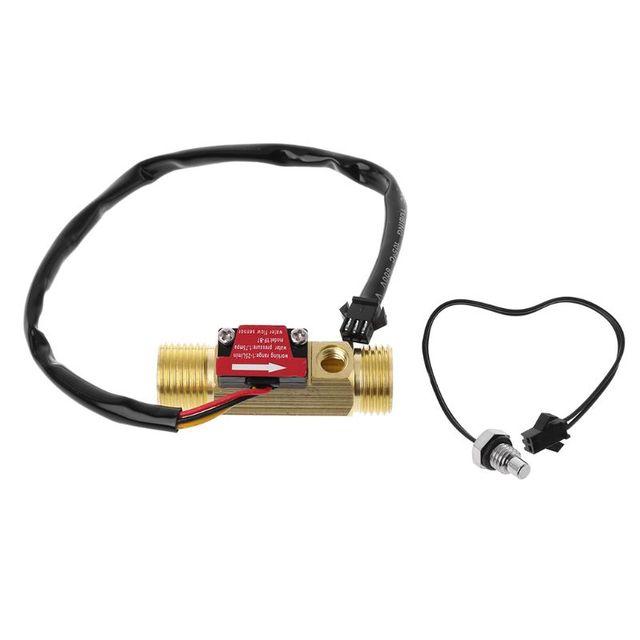 """Medidor de flujo de pasillo de latón G1/2 """"medidor de Sensor de flujo de agua de medición de temperatura NTC"""