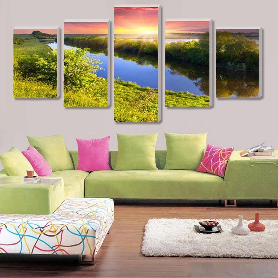 Geen Grens Vijf Mooie Tuin Home Decor Canvas Print Op Canvas Wanddecoratie Foto In De Wereld Van Olieverf Canvas Prints Print On Canvasdecorative Prints Aliexpress