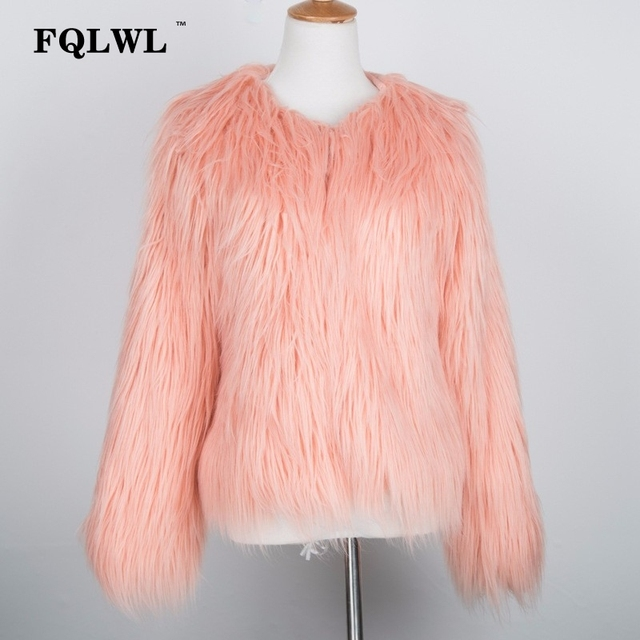 FQLWL Warm Faux Fur Coat Women Jacket Plus Size Black White Pink Plush Overcoat Female Colorful Winter Autumn Shaggy Outerwear