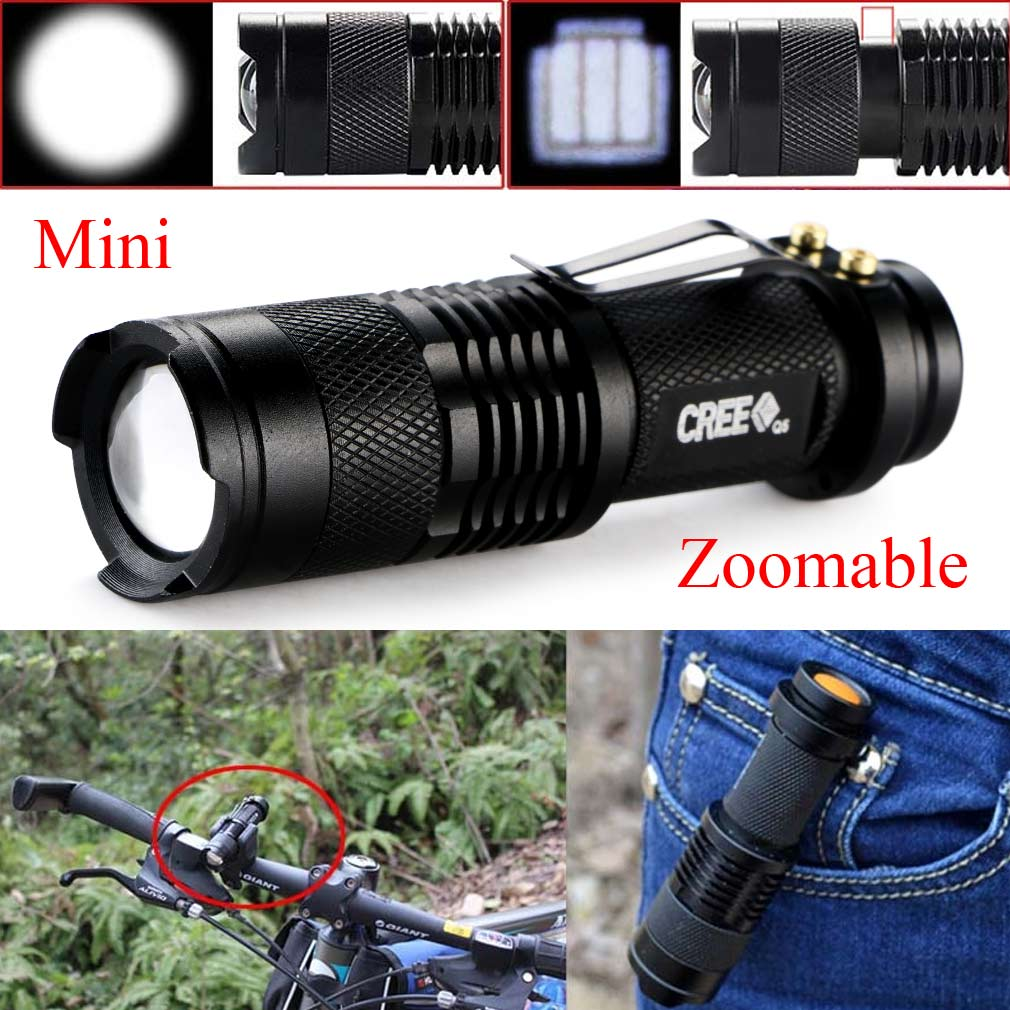 2016 New Mini 2000 Lumens Bright CREE Q5 LED Adjustable Zoom Focus Flashlight Torch Lamp Light Black For AA/14500 Battery
