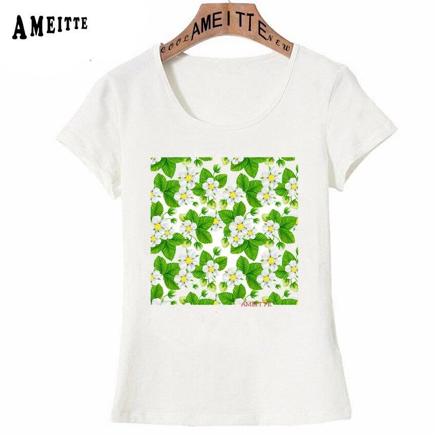 Summer Fashion Women T-shirt Strawberry garden Print T-Shirt Ameitte Casual Tops Happy Cute Girl Tees Funny White Short Sleeve