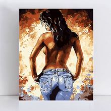 Beautiful woman back view passion open bathroom love picture by numbers Diy painting  hand painted