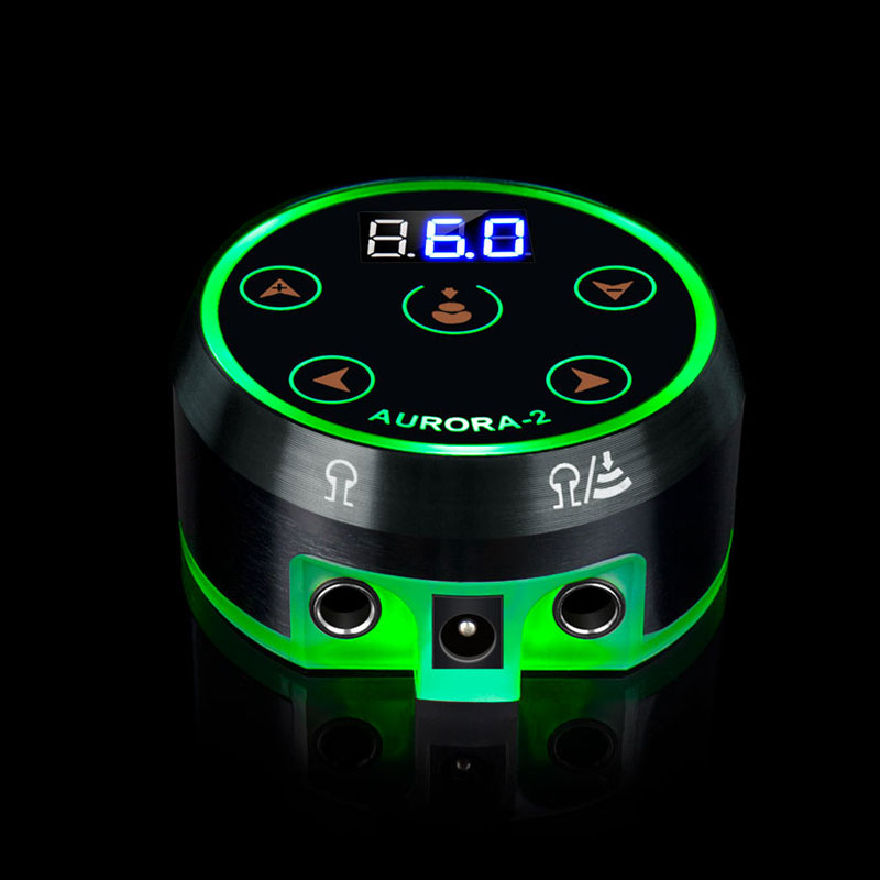 Newest Hot Sale Black Professional Aurora Tattoo Power Supply With Adapter For Reel And Rotary Tattoo