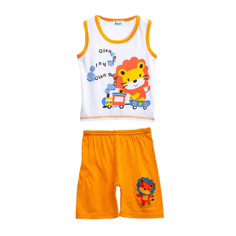 Summer Baby Boys Children's Sets Printed Cartoon Sleeveless T-Shirt Tank Tops + Shorts Set Casual Clothes Outfits 0M-3T 0 24m floral baby girl clothes set 2017 summer sleeveless ruffles crop tops baby bloomers shorts 2pcs outfits children sunsuit