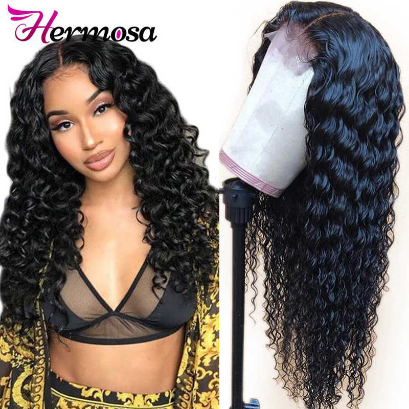 Hermosa Lace Front Human Hair Wigs Deep Wave Wig For Women Black Color Pre Plucked Brazilian Hair Remy Lace Frontal Wigs