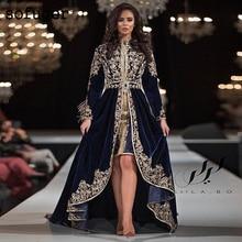 Navy Blue VELOUR Moroccan Kaftan Muslim Evening Dresses Appliques Saudi Arabic Long Sleeve Special Occasion Gown Robe De Soiree