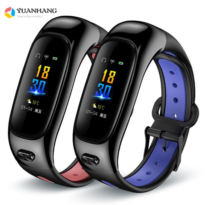 2019 IP67 Waterproof Bluetooth 5 0 Color Screen Real Time Heart Rate Blood Pressure Steps Music