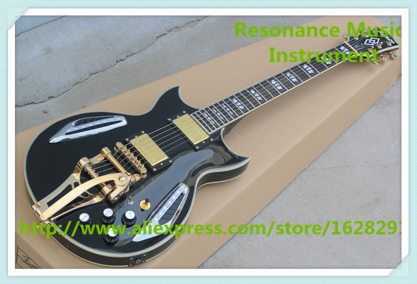 Top Selling China Black LED Light Jazz Electric Guitar with Gold Bigsby Free Shipping top selling emerald green classical chinese jazz electric guitar with bigsby hollow guitar body