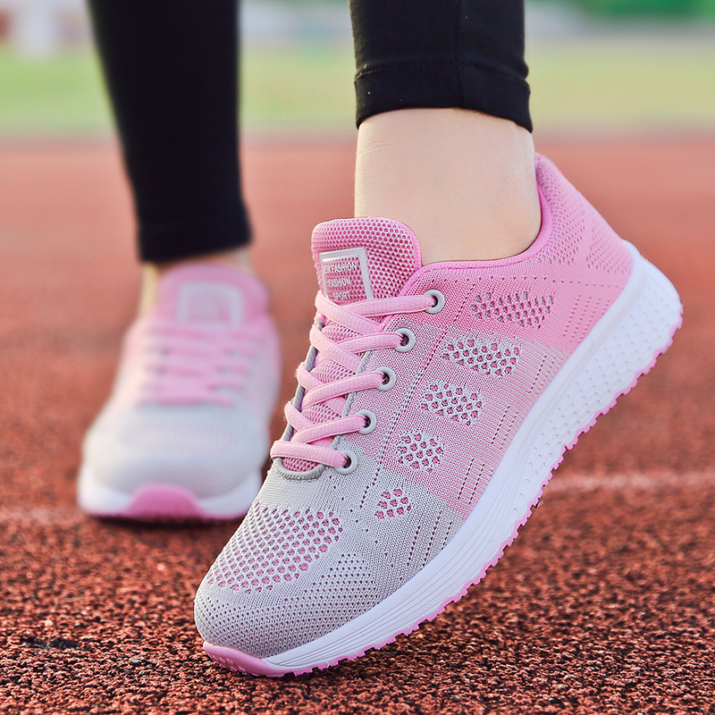 2019 tenis feminino branco vulcanizado sapatos femininos sapatos casuais moda respirável andando malha rendas até sapatos lisos