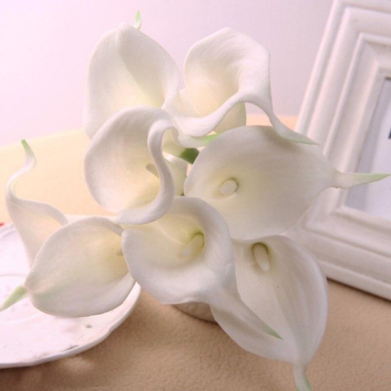 Elegantes blancos de Látex Real Touch Calla Lily Flor Ramos de Novia de La Boda