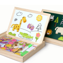 Children Drawing Board Magnetic Puzzle Animal Forest Boy Girl Gift Baby Building Blocks Educational Toys