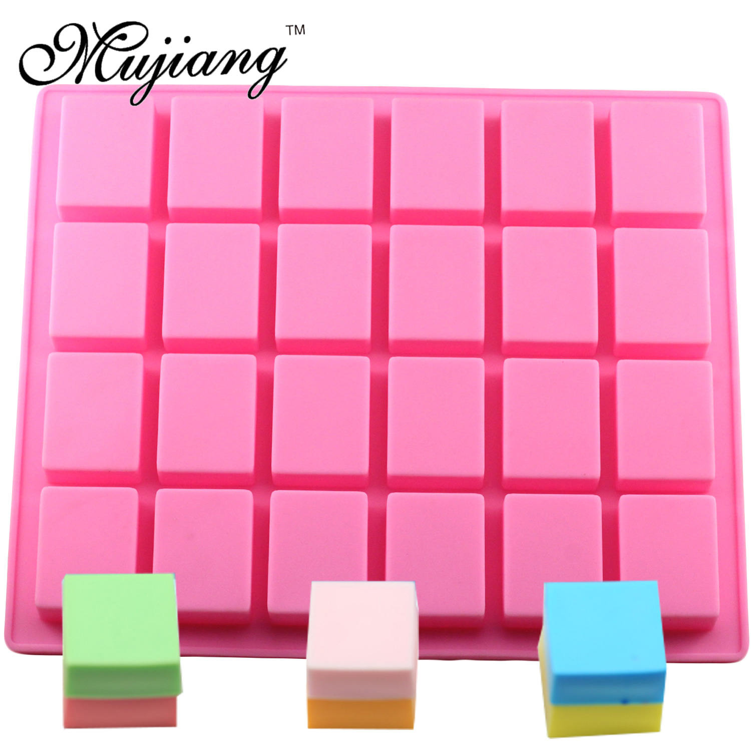 Mujiang 24 Cavity Rectangle Square Cake Silicone Baking