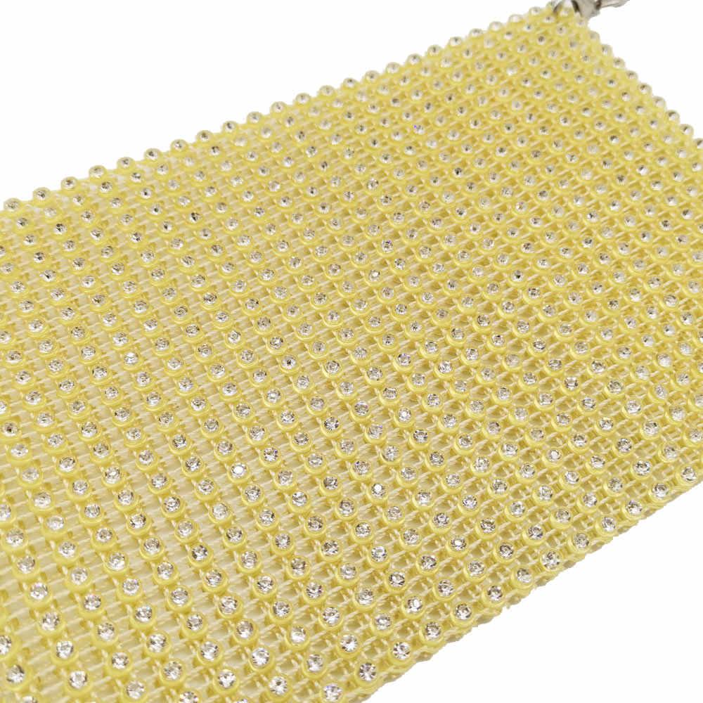Butik Fgg Berongga Perempuan Mini Rantai Tas Bahu Tas Crossbody Kasual Kristal Dompet Cocok untuk iPhone