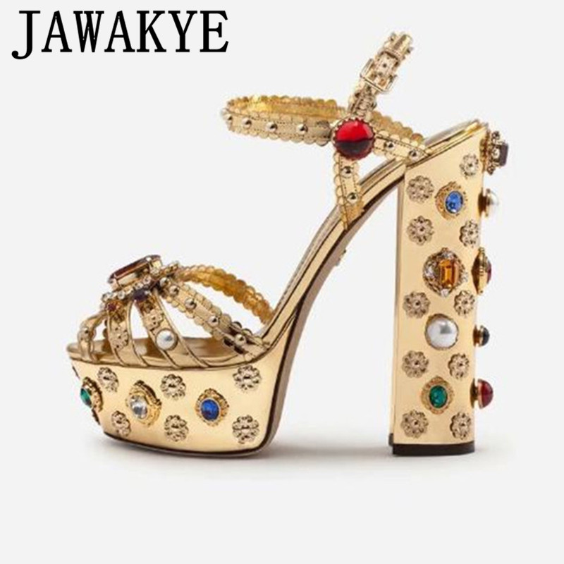 Luxury Rhinestone Metallic Gold Leather Sandals Chunky High Heel Platform Strappy Sandals Summer Party Shoes Women