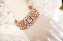 2017 Hot Sales Women Full Rhinestone Watches Lady Shining Dress Watch Square Rose Gold Bracelet Wristwatch Ladies diamond Watch