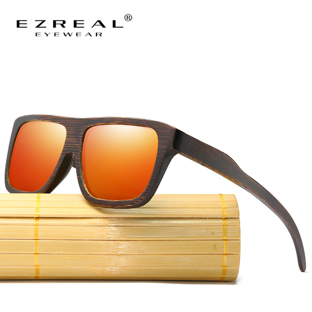 EZREAL Polarized Wood Sunglasses Layered Wooden Frame Square Style ...