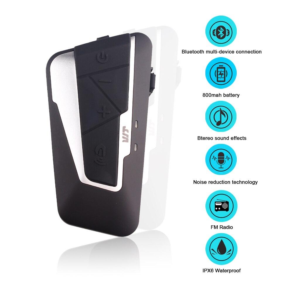 Fodsports T9S del Casco Del Motociclo Auricolare Interfono Bluetooth Citofono 1200 m Impermeabile 800 mah Con FM Radio di Riduzione Del Rumore