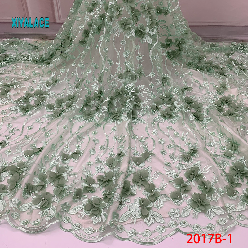 Nigerian Beaded Lace Fabric 2019 High Quality African 3D Net Lace Fabric Wedding French Tulle Lace Material For Dress YA2017B-1