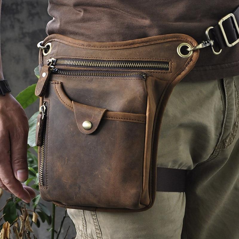 Men Real Cowhide Belt Drop Leg Messenger Shoulder Bags High Quality Male Motorcycle Riding Geunine Leather Fanny Waist Pack