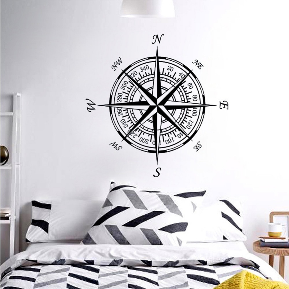 Us 13 36 36 Off Compass Nautical Compass Rose Wall Art Stickers Decals Home Diy Decoration Wall Mural Removable Bedroom Decor Wall Stickers In Wall