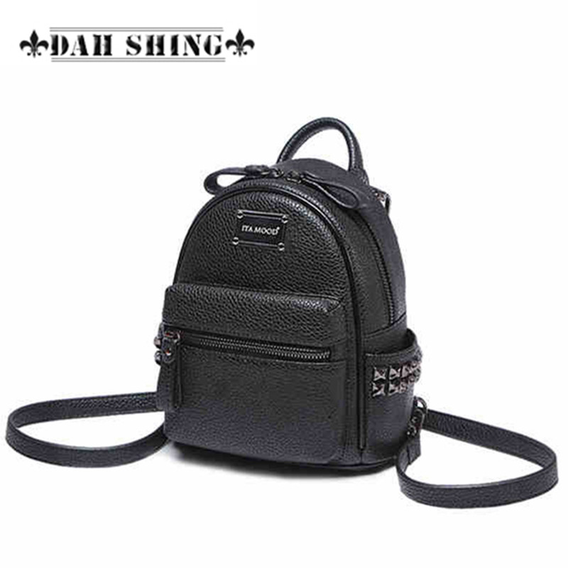 New charming PU synthetic leather rivet shoulder bag casual women backpack mini rucksack zipper closure mochilas feminas zenteii women faux synthetic leather pu backpack