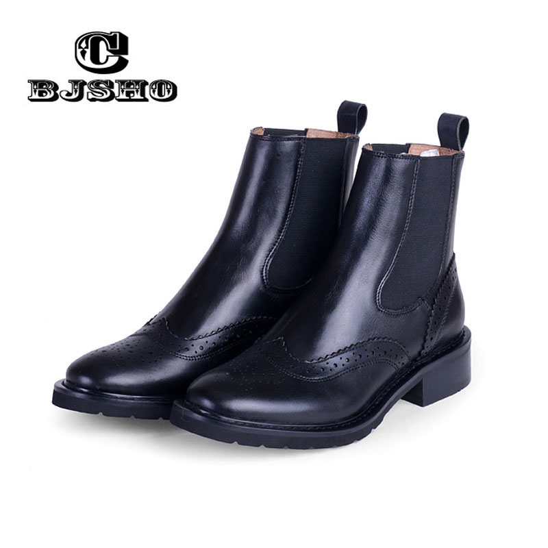 CBJSHO Genuine Leather Elastic Band Women Short Chelsea Boots Cut-out Brogue Shoes High Quality Lady's Ankle Boots Shoes Martin brogue boots two tone