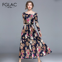FGLAC Women dresses New Arrivals 2018 Spring long sleeved Lace dress Elegant Slim Hollow out Vintage Party long dress
