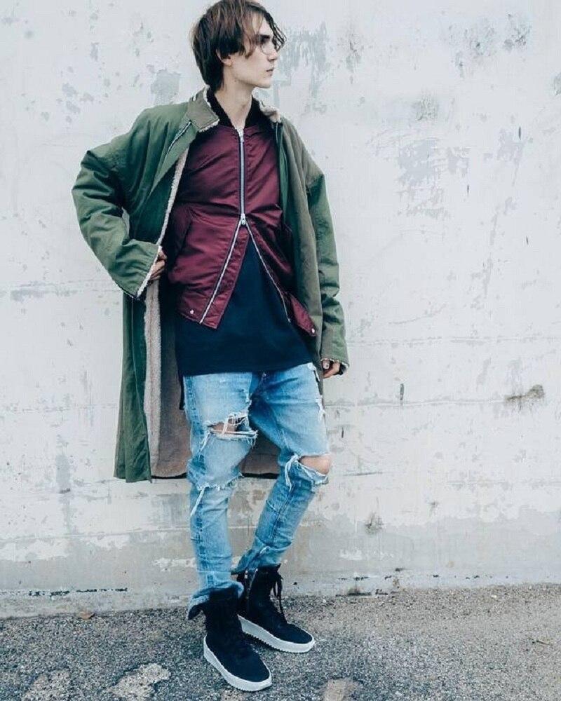 2019 Jeans Mens Justin Bieber Ripped Holes Hip Hop Biker Jeans For Men Bottom Zipper Skinny Jeans Men Dropshipping