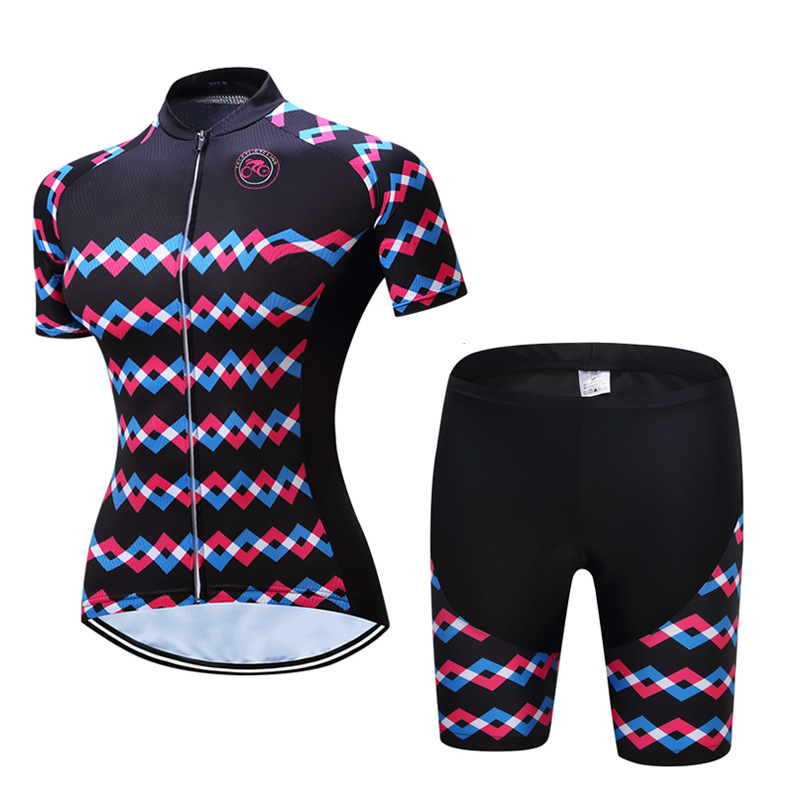 TELEYI Cycling set  Women's Short Cycling Jerseys  Sleeve Set bike set Quick Dry Breathable Bicycle Jerseys Bicycle  sets nuckily quick dry anti uv long sleeve bicycle jerseys sets windproof cycling clothing gel padds bike pants cycling jerseys sets