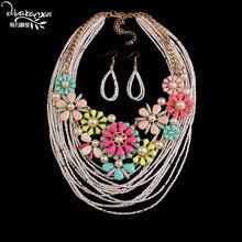 Dvacaman Marca 2016 Flores de Perlas Chapado En Oro Accesorios de La Boda Perlas Africanas Sistemas de la Joyería de Las Mujeres de Moda Boho Bijoux Femme W86