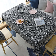 Nodic Geometric Print Tablecloth Solid Tassel Thicken Cotton Rectangular Dining Tea Table Cover Wedding Party Home Deco Tafelkle