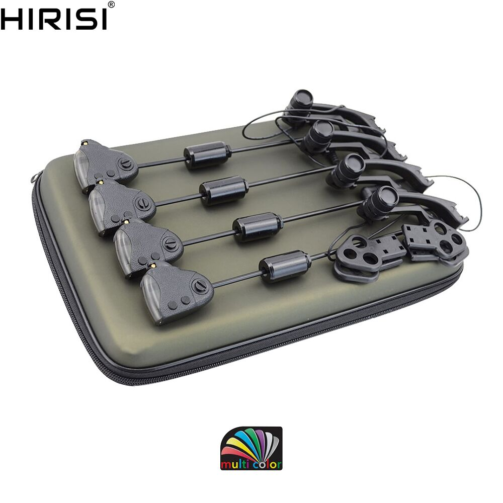 Carp fishing set Illuminated fishing swingers with Changeable light color control leather covered 4pcs in Zipped case B2028