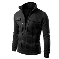 Fashion Men Are Upscale In Winter Slim Fit Casual Trench Solid Zipper Coat Male Pure Color