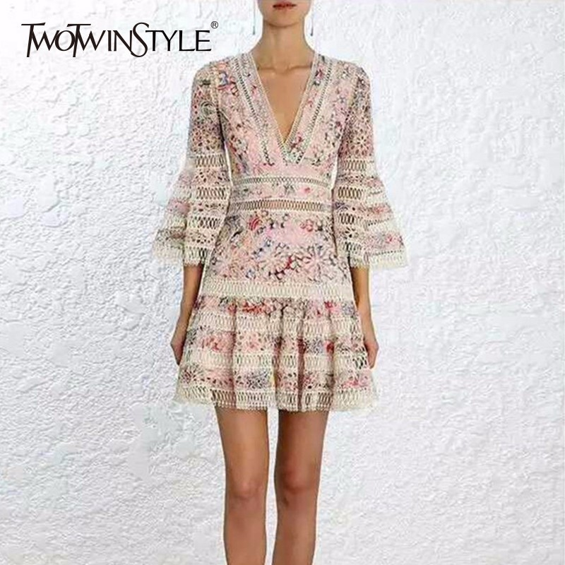TWOTWINSTYLE Print Mini Dress Female V Neck Hollow Out Flare Sleeve Tunic High Waist Draped Dresses Summer Sweet 2018 Clothing twotwinstyle striped dress female deep v neck long sleeve slim bandage summer dresses for women hollow out ol style fashion tide