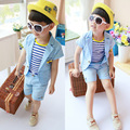 New 2015 Summer style children clothing Boy Sets Linen Cotton fabrics Short-sleeved two-piece suit
