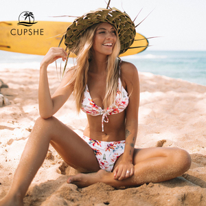 Image 1 - CUPSHE Floral Print And Striped Reversible Bikini Set Women Lace Up Two Pieces Swimwear 2020 Beach Bathing Suits Swimsuits