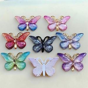 Image 2 - 色の蝶天然石凸シリーズフラットバックレジンカボションジュエリーアクセサリー 10 個 23*38 ミリメートルb27A