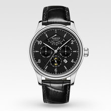 42mm Parnis Business Watch Men Power Reserve Moon Phase Mechanical Watches Leather Band Waterproof Automatic Watch Men