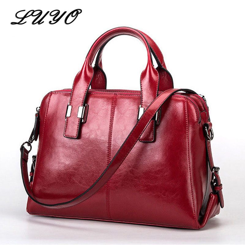 LUYO 100% Genuine Leather Ladies Handbag Luxury Handbags Women Bags Designer Top-handle Bolsa Feminina Female Pochette Briefcase