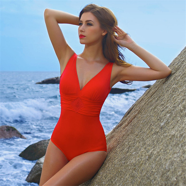 New One piece Swimsuit 2017 black red women Swimwear cover belly thin bathing  suit hot Summer Beach Resort Swimsuit Biquini P109 5dc123c965f7