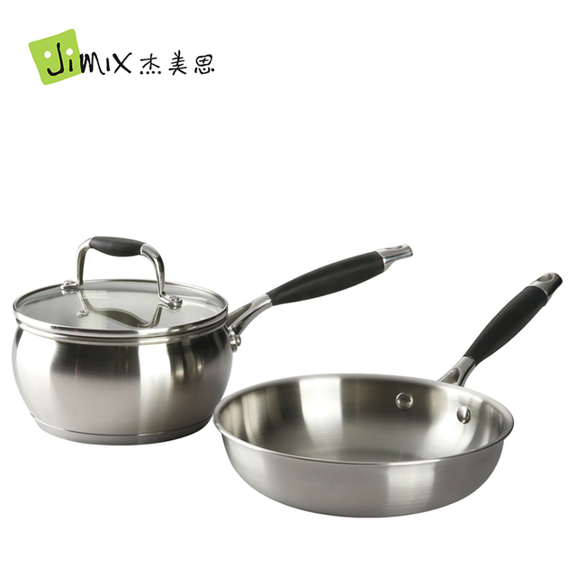 Easy Home Stainless Steel Frying Pan Soup Pot Set Flat Bottom Milk Cookware