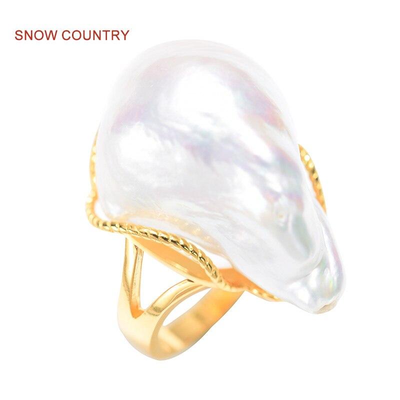 Снежная страна высокий блеск жемчуг барокко Изменение размера Pearl Ring S925 стерлингового серебра для Для женщин Модные украшения Бесплатная д...