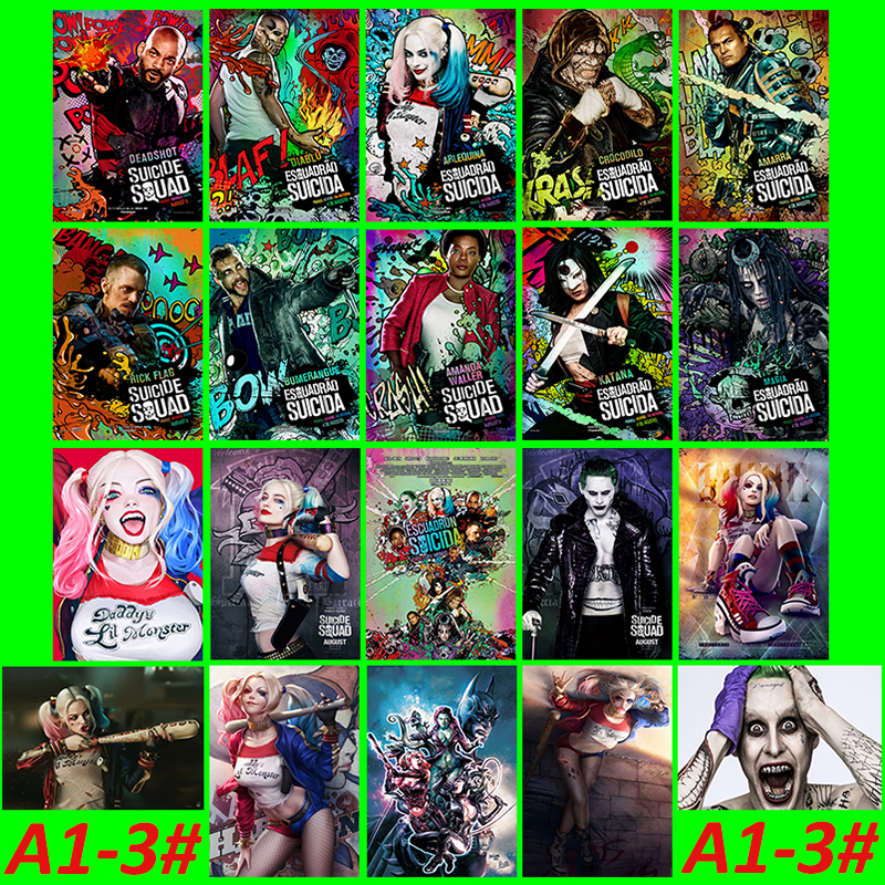 A1-3 # Suicide Squad 20 / pc PVC Series Sticker Travel Suitcase Wall PencilBox Bike Phone Sliding Plate Graffiti Styling