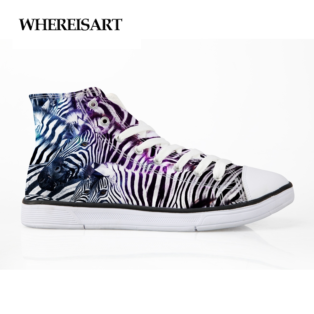 WHEREISART High Quality Vulcanized Shoes Men Zebra Printing Shose For Animals Pattern Flats High-top Sneasker Studnets Boys