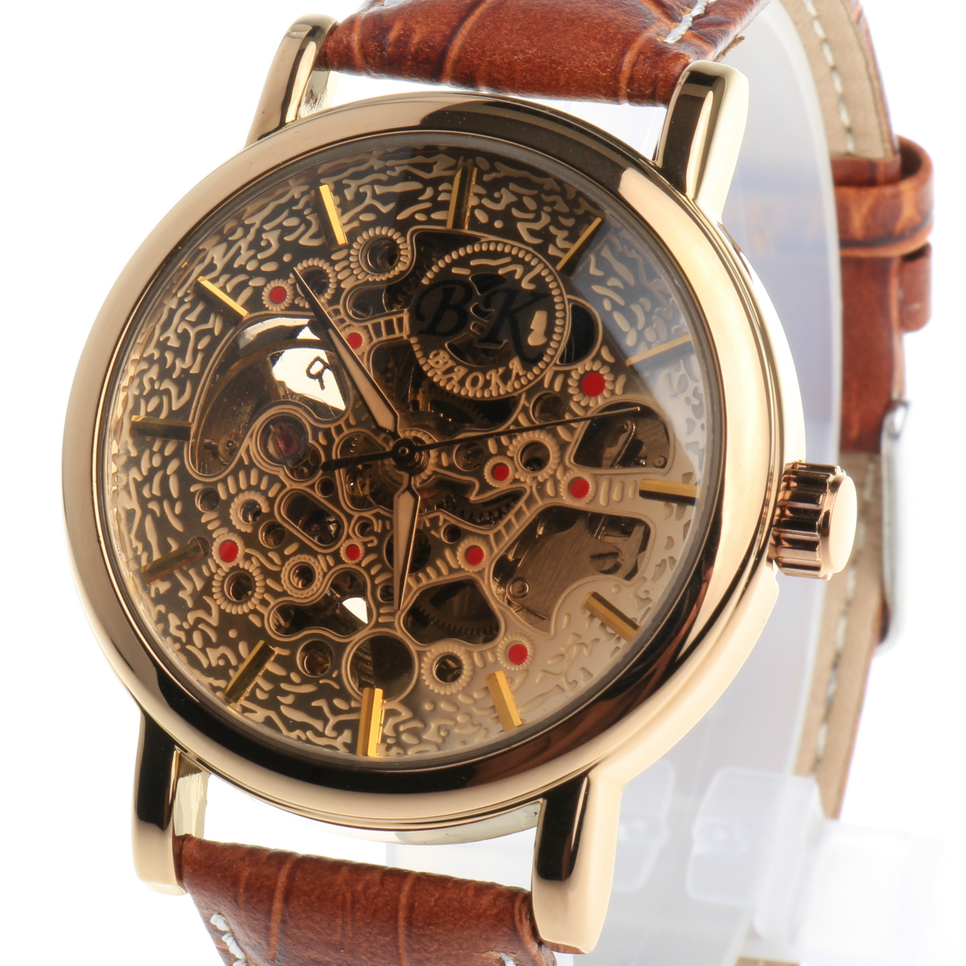 2016 New Brand BIAOKA watch Brown glass carved hollow belt waterproof automatic mechanical table Gold Skeleton