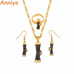 Anniyo Black Enamel Drum Papua New Guinea Ethnic Necklaces Earrings Ring sets for Women PNG Wedding Jewelry Party Gifts #139806