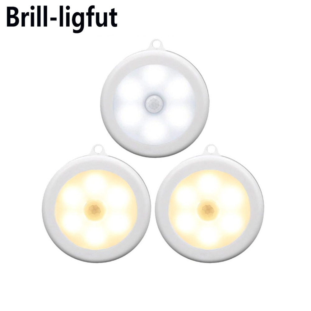 Battery Operated 6 LED PIR Motion Sensor Night Light Auto On/Off Wall Lamp Light Induction Magnet LED Cabinet Closet Night Lamp