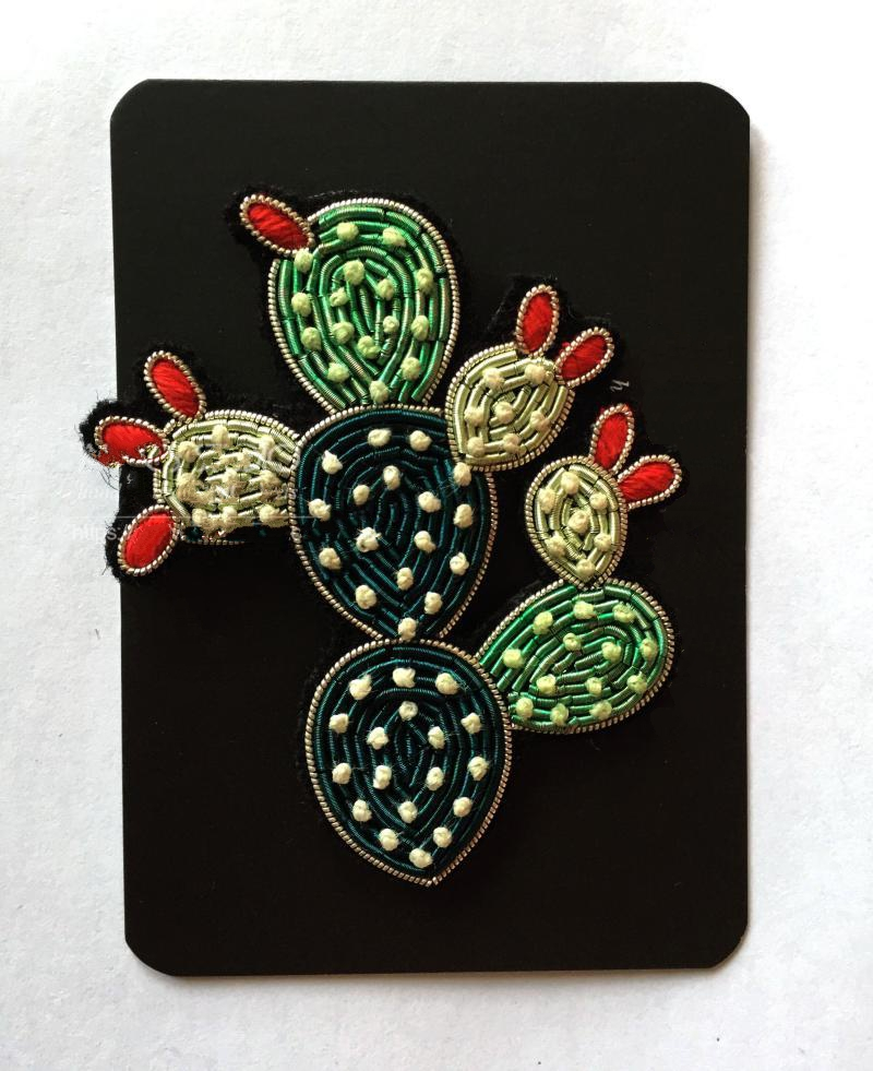 Diy New High Quality 3d Hand Embroidered Badges Cactus Flower Armband Applique For Coat Trousers Bag Brooch Home & Garden